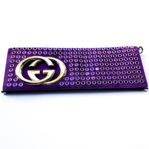 Limited Edition Runway Gucci Purple Studded Clutch